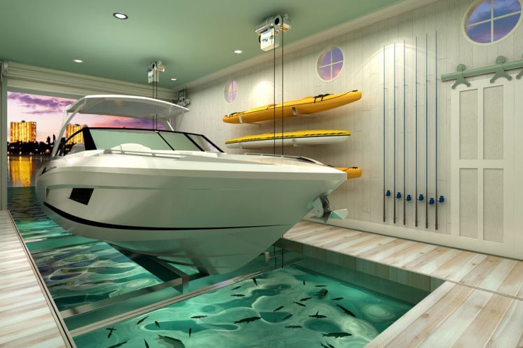 Optional Aquarium for Boat Garage System | Boat Trolley: Innovative Boat Docking & Storage Solutions