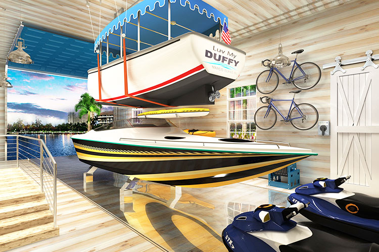 Nautical Boat Garage Storage | Boat Trolley: Innovative Boat Docking & Storage Solutions