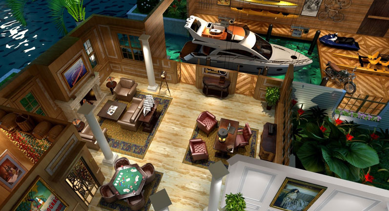 Nautical Boat Garage Artist's Rendering Style 1 | Boat Trolley: Innovative Boat Docking & Storage Solutions